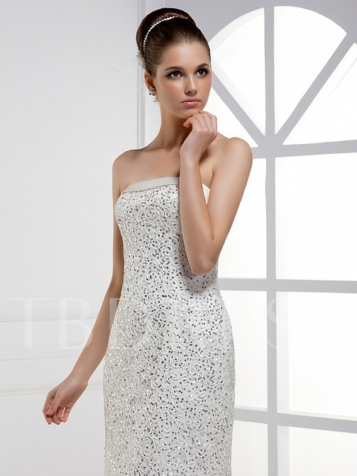 Column Strapless Floor-length Lace-Up Bridal Gown