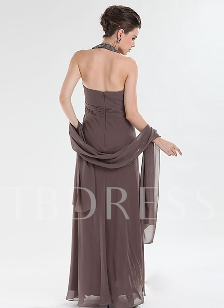 Draped A-line Halter Long Evening Dress With Jacket/Shawl