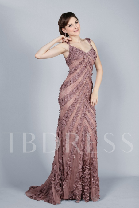 Sheath/Column V-Neck Sweep Train Evening Dress
