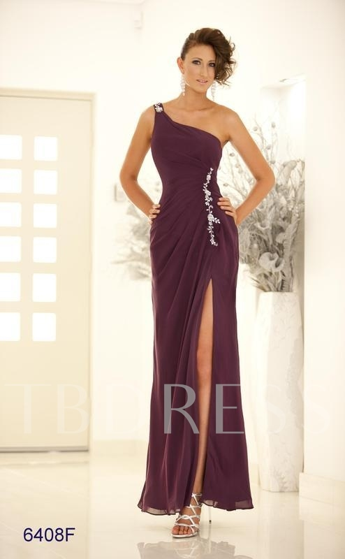 Sheath/Column One-Shoulder Split-front Long Evening Dress