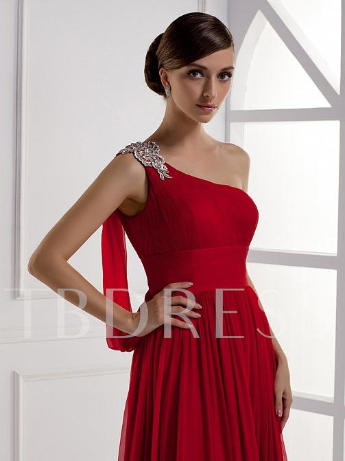 A-Line Rhinestone One-Shoulder Long Prom Dress