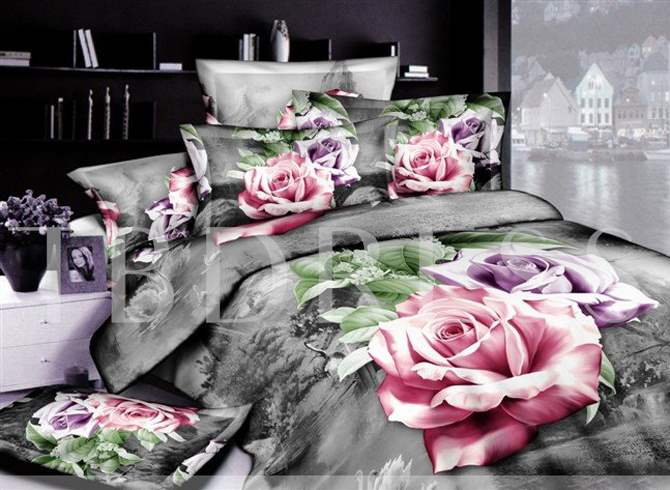 3D Bloomling Pink and Purple Roses Printed Cotton 4-Piece Bedding Sets/Duvet Covers