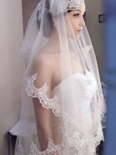 Waltz Length White Tulle Wedding Veil