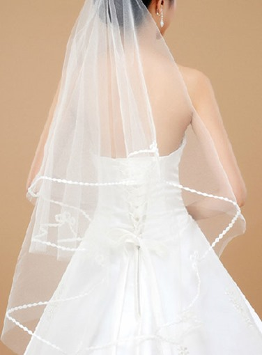 Wedding Veil One-tier Elbow Veils Ribbon Edge
