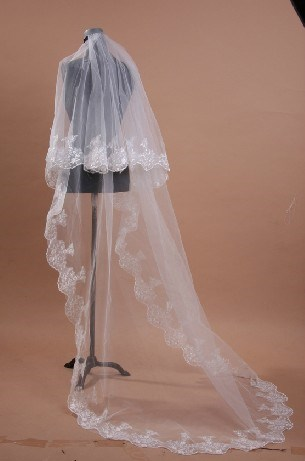 Cathedral Length White Appliques Wedding Veil