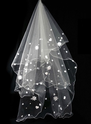 Wedding Bridal Veils with Lace Edge