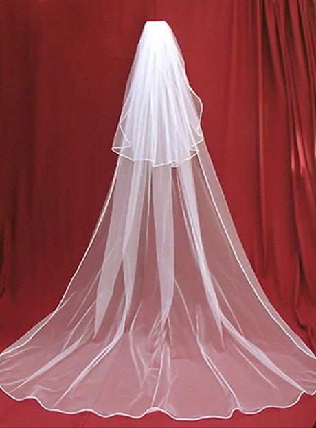 Two-Layer White Tulle Wedding Veil