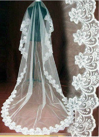 Appliques Edge Cathedral Length Wedding Veil