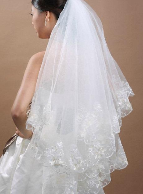 Elbow Length White Tulle Wedding Veil