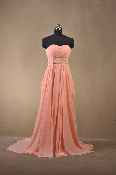 Draped A-Line Sweetheart Beading Long Prom Dress