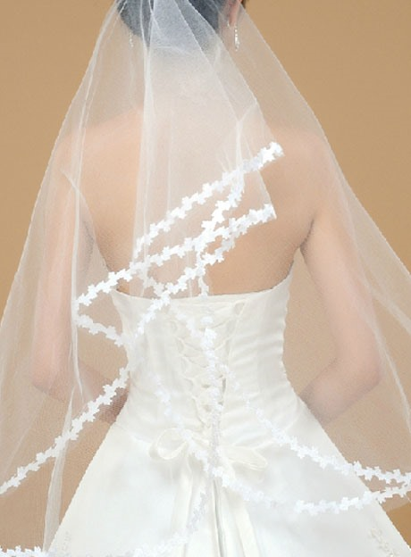 Wedding Veil One-tier Elbow Veils Appliques Edge