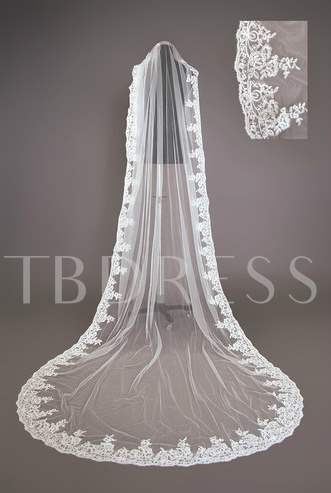 Cathedral Length Wedding Veil With Appliques Edge