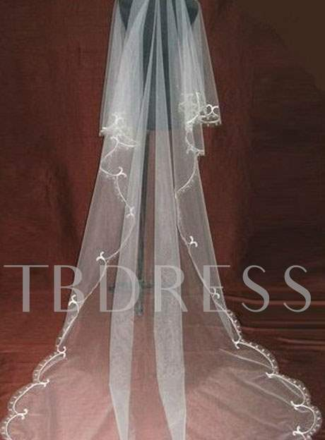 Cathedral Length Wedding Veil With Appliques