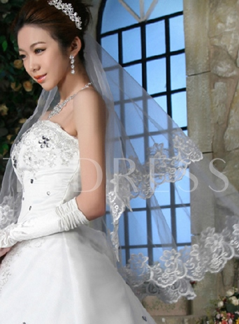 Elbow Wedding Veil With Lace Edge