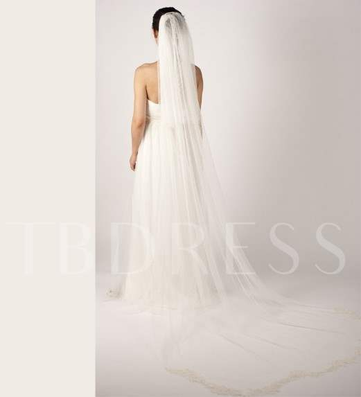 Cathedral Length White Tulle Wedding Veil