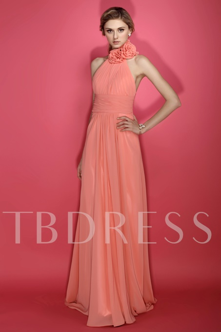 Ruched A-Line Halter Flowers Long Bridesmaid Dress