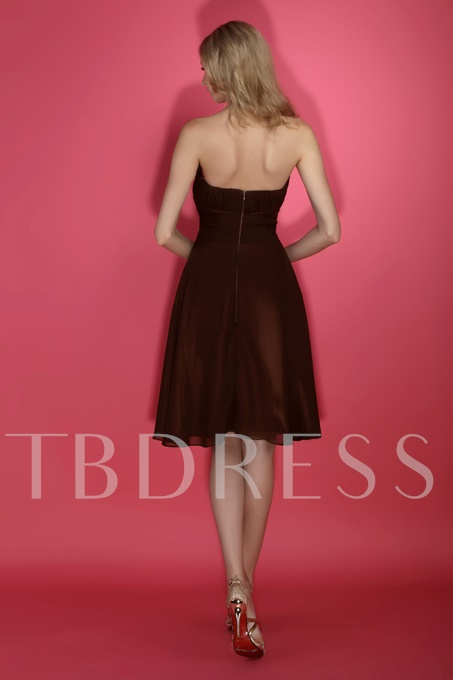 Ruched A-line Sashes/Ribbons Strapless Short Bridesmaid Dress