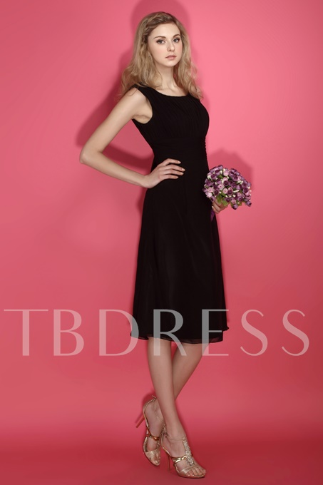 A-line Scoop Sleeveless Bridesmaid Dress