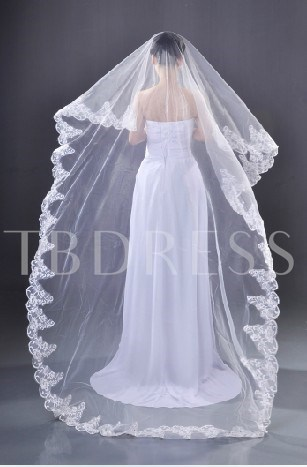 Chapel Wedding Bridal Veil One-Tier Lace Applique Edge