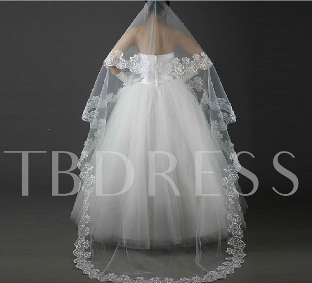 Sweetheart Style Cathedral Length White Lace Wedding Veil