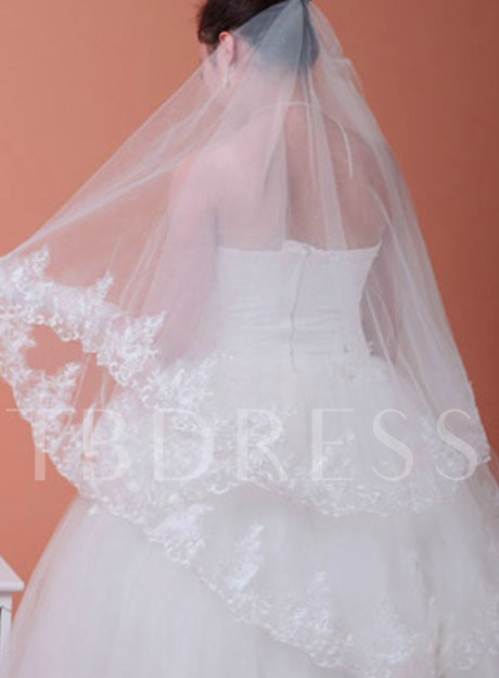 Elbow Wedding Veil With Applique Edge