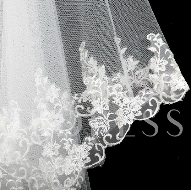 Elbow Tulle Wedding Veil With Lace Applique Edge