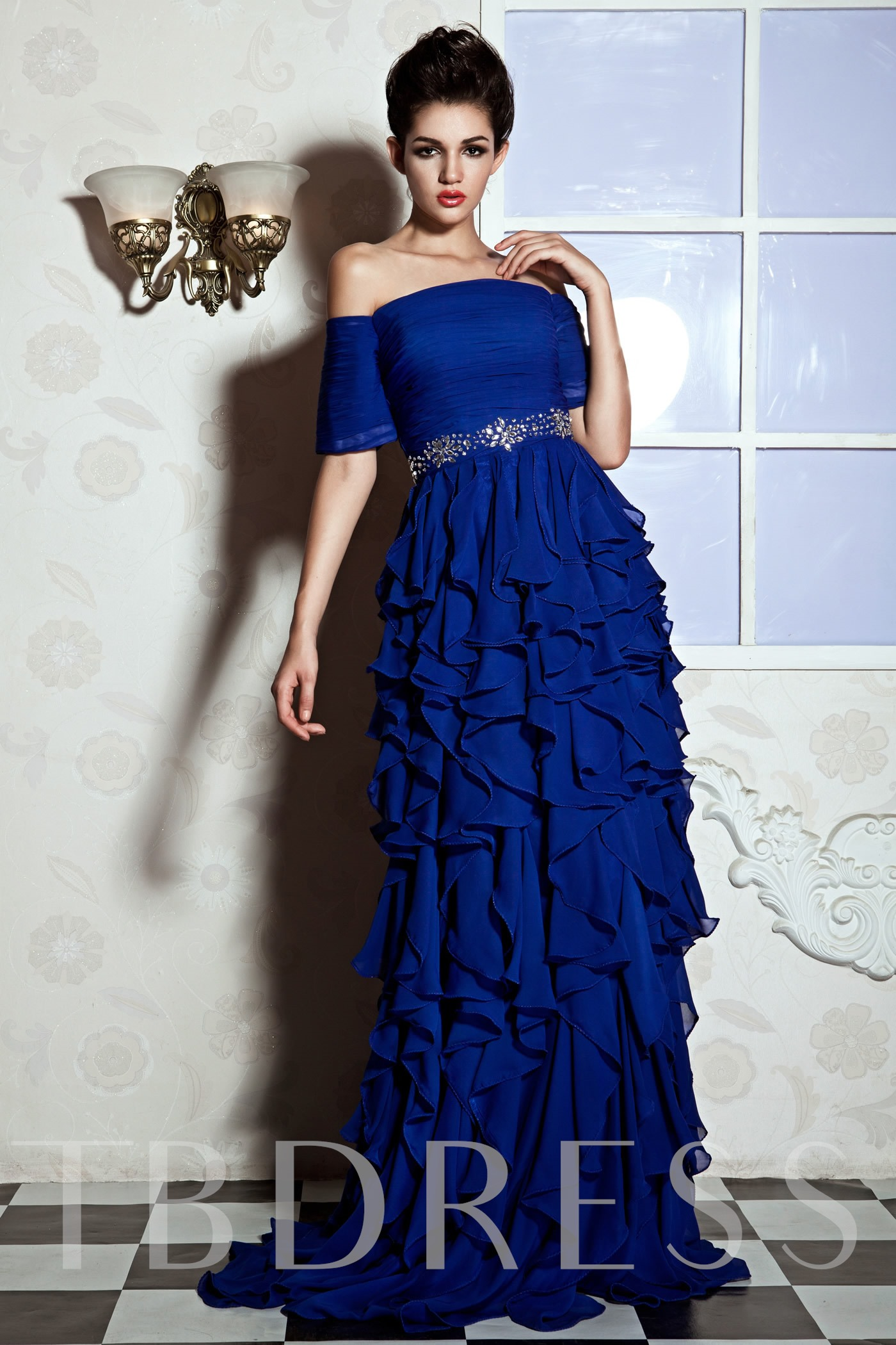 Image of A-Line Off-the-Shoulder Floor-Length Julianas Prom Dress