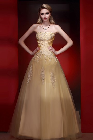 A-Line Strapless Floor-Length Empire Waistline Prom Dress