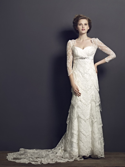 Sheath/Column Sweetheart Long Sleeves Chapel Train Lace Wedding Dress