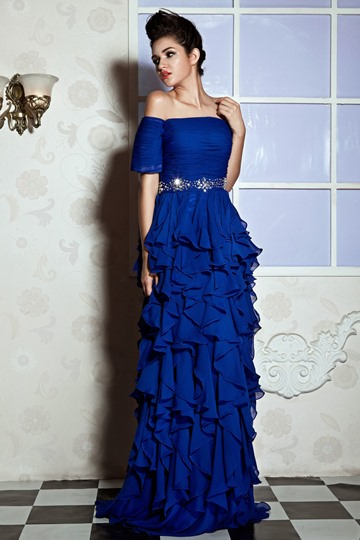 A-Line Off-the-Shoulder Floor-Length Juliana's Prom Dress