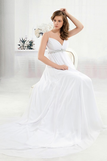 Empire Spaghetti Straps Floor-length Chapel Anita's Wedding Dress