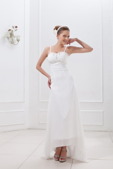 Spaghetti Straps Sheath/Column Asymmetry-length Ela's Wedding Dress
