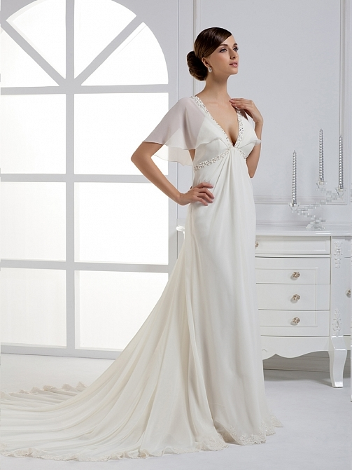 V-Neck Beading Trumpet Wedding Dress
