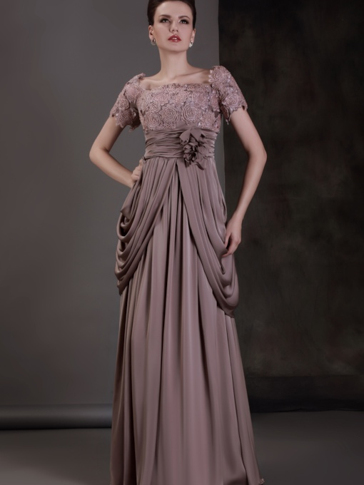 Appliques Beading Draped Mother of the Bride Dress