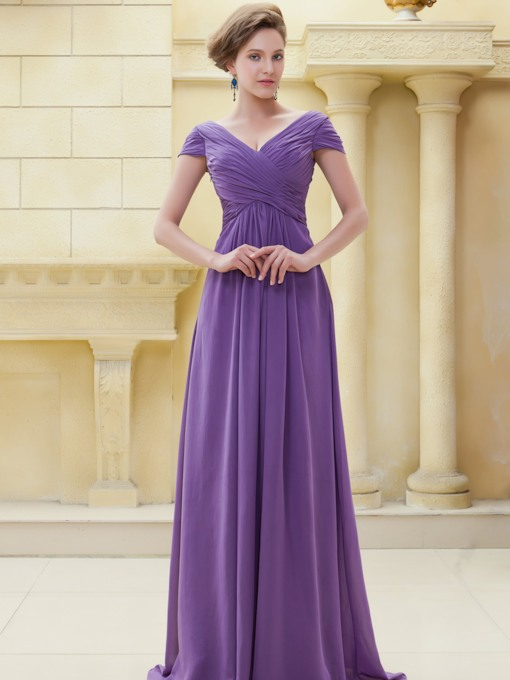 Cap Sleeve Pleqats Long Mother of the Bride Dress