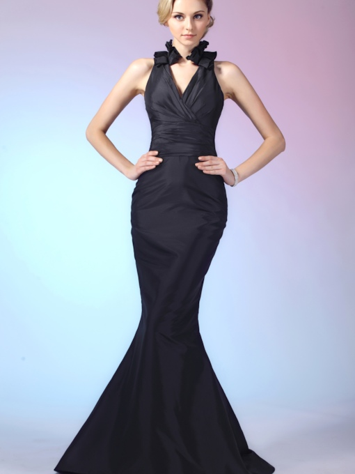 Ruffles Trumpet/Mermaid V-Neck Long Evening Dress