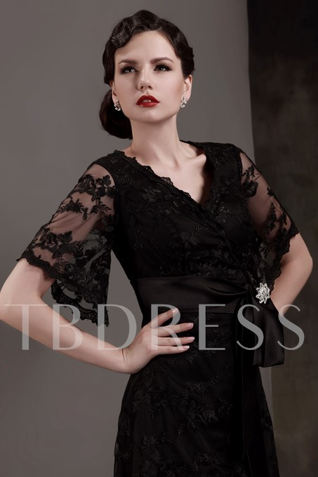 Short Sleeve Lace Mother of the Bride Dress