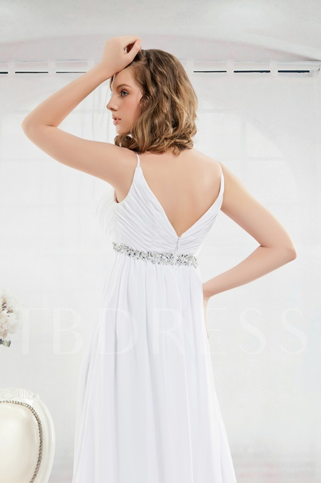Beading Empire Waist Beach Wedding Dress
