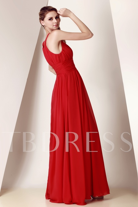 Straps Pleats Empire Waist Long Bridesmaid Dress