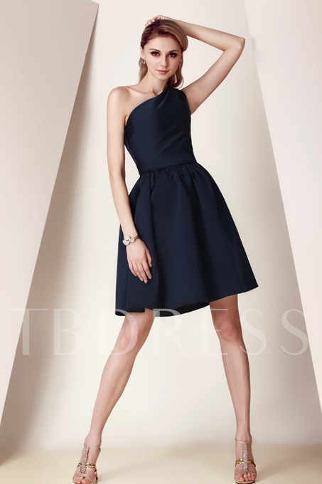 A-Line One-Shoulder Short Bridesmaid Dress