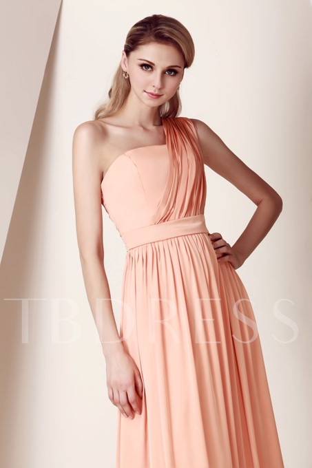 One-Shoulder Ruched Long Bridesmaid Dress
