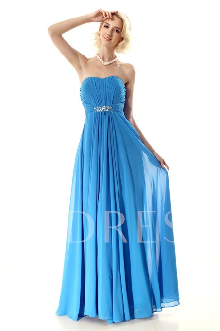 Pleated A-Line Strapless Beading Long Prom Dress