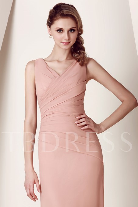 Ruched Sheath V-Neck Long Bridesmaid Dress