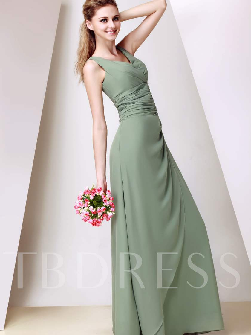 Ruched A-Line V-Neck Long Bridesmaid Dress