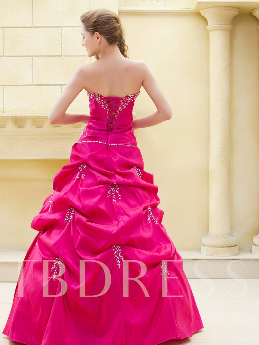 Beading Strapeless Pick-ups Long Prom Dress