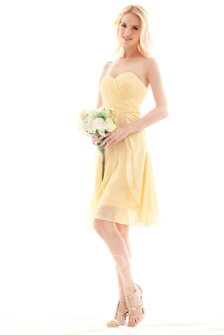 A-line Sweetheart Pleats Short Bridesmaid Dress