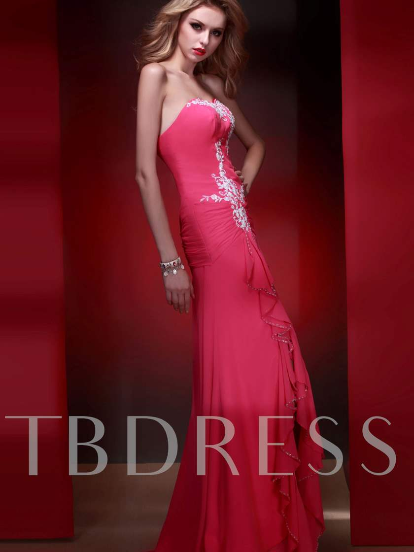 Draped Sheath/Column Sweetheart Appliques High-low Evening Dress