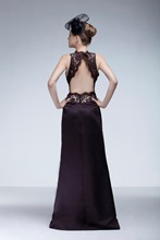 Lace A-Line Trimmed Neckline Floor-length Ela's Bridesmaid Dress