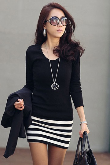 Black Striped Slim Long Sleeve Women's Dress