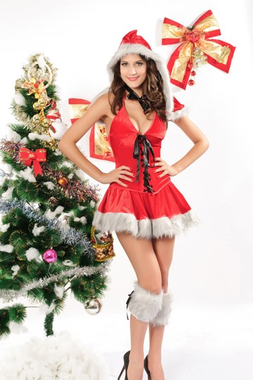 Red & White Christmas Dress Costume YM162